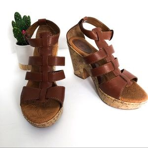 {BORN} B.O.C. Brown Strappy Cork Heeled Sandals 9
